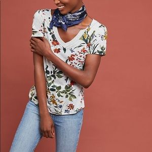 Maeve by Anthro Mayotte V-Neck Floral T-Shirt S